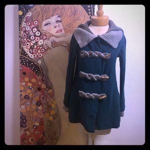 Turquoise Hooded Anthropology Fiets Voor 2 Coat